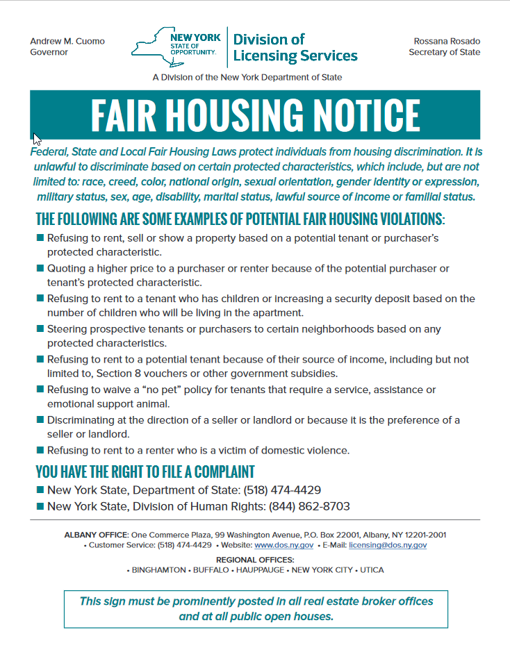 Poster for Fair Housing Notice from the Division of Licensing Services in the New York State Department of State